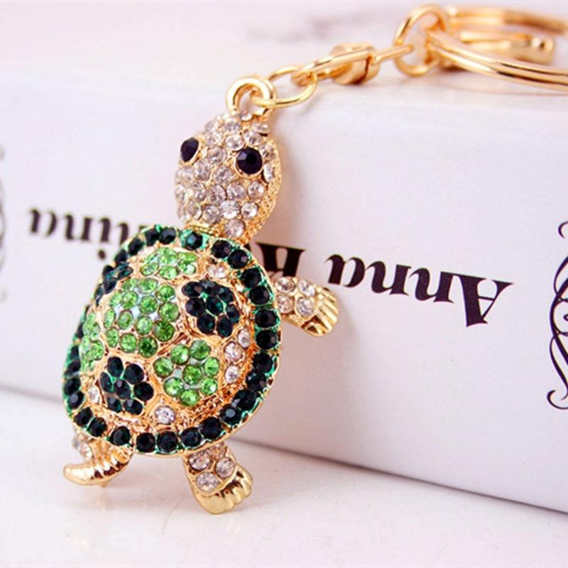 Cute Trinket Алтын түсті ринстон Tortoise Keychains - Сәндік зергерлік бұйымдар - фото 5