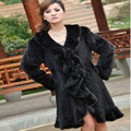 Winter Women's Natural Genuine Knitted Mink Fur Coat Ruffle Collar Lady Trench Overcoat Outerwear VF0357