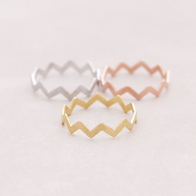 Fashion Gold Silver Rose Gold Color Rings Filled Zig Zag Band