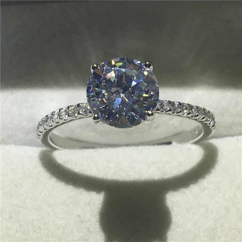 Vecalon ювелирные изделия с камнем-солитером реальный Soild кольцо из стерлингового серебра 925 1ct 5A Циркон Cz Обручение обручальное кольца для мужчин и женщин подарок