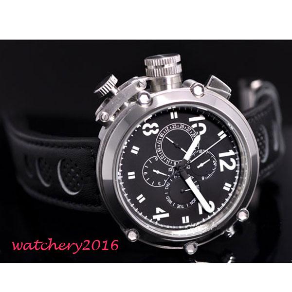 50mm parnis Black Dial Chronograph Militær Mekaniske ure Herre Watch - Mænds ure - Foto 3