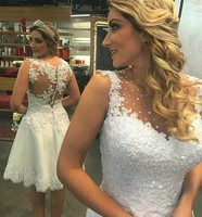 Short Lace Wedding Dress Sheer Neck Beading Sequin Knee Length A Line Bridal Gowns Lovely Robe