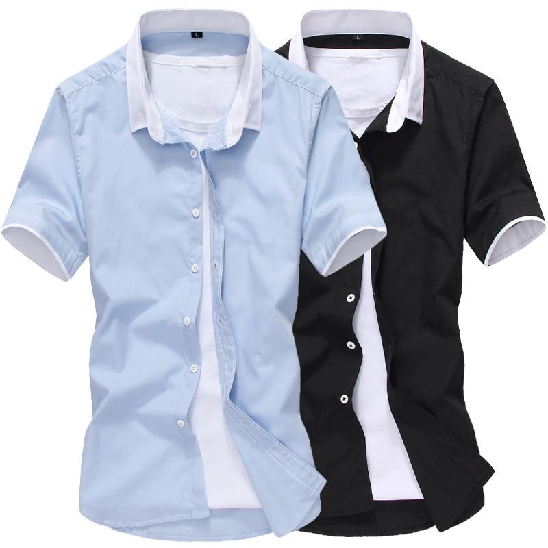 LISIBOOO Summer Men Patchwork Short Sleeve Shirts Mens Dress Shirt Casual Business Work Shirt Male Slim Fit Camisa De Hombre