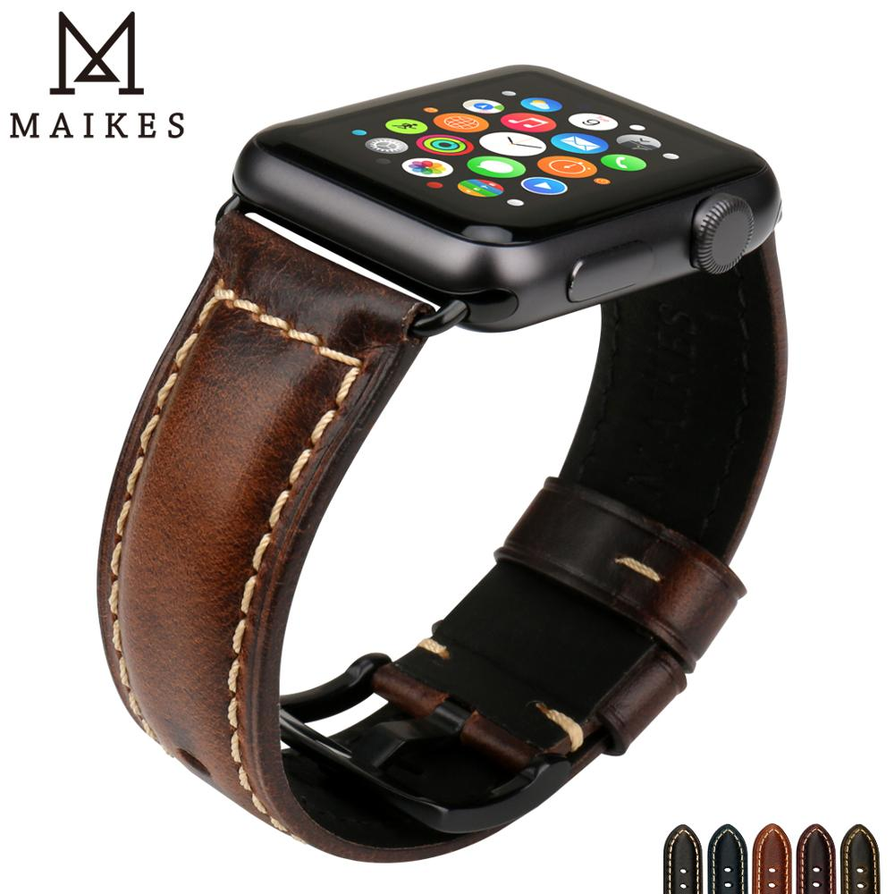 MAIKES Vintage Cow Leather Watch Band For Apple Watch 44mm 40mm 42mm 38mm Series 4 3 2 1 IWatch Watchband Apple Watch Strap