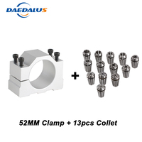 ER11 Collet Chuck 13pcs ER11 Lathe Chuck Lathe Tool Holder Drill Chuck + 52MM Spindle Clamp Mounting Bracket For Milling Machine