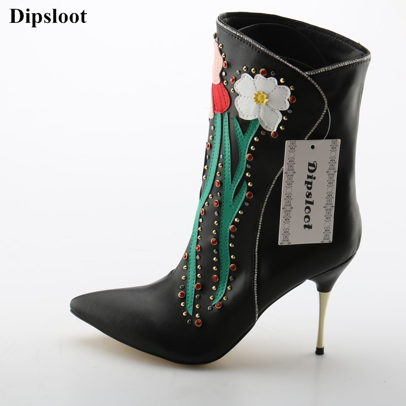 Dipsloot Crystal Embellsihed Stiletto High Heels Dress Party Shoes Lady Flower Print Slip-on Ankle Boots Woman Pointed Toe Shoes new stylish designer lady high heels shoes pointed toe concise slip on office career shoes woman string metal bead shoe edge