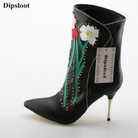 Dipsloot Crystal Embellsihed Stiletto High Heels Dress Party Shoes Lady Flower Print Slip on Ankle Boots Woman Pointed Toe Shoes