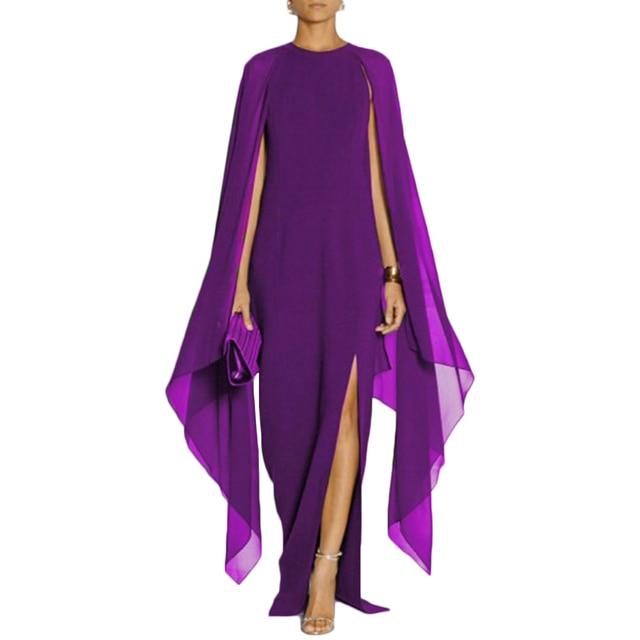 40f69d264 Purple Patchwork Long Chiffon Dress Women Cloak Sleeves Irregular Maxi  Dress Summer Plus Size Red Boho Beach Dress Party Dress