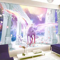 Custom Murals Wallpaper 3D Romantic Unicorn Beautiful Background Wall Decor European Style Roman Column Cartoon Papel De Parede
