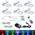 6 RGB Color Changing LED Sob Gabinete Puck Luzes Kit Remoto RF Regulável para Casa Balcão Da Cozinha Iluminação Da Decoração De Móveis
