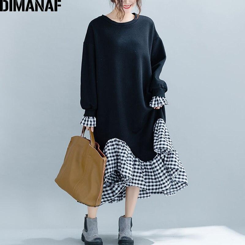 DIMANAF Women Plus Size Long Dress Winter Cotton Thick Trumpet Mermaid Ruffle Spliced Plaid Casual Loose Big Size Lady Dresses