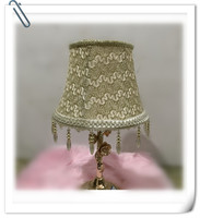Lamp shade for table lamp gold color with beeds pendant lamp cover lace Pattern Textile Fabrics Decorative lamp shade