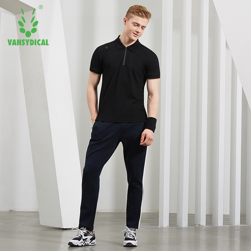 Mens Solid Running Tees Vansydical Zipper Sports Polo Shirts Breathable Golf Tennis Training Tops