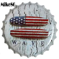[ Mike86 ] WAVE Bottle Cap Iron Painting Vintage tin sign Pub Room Gift Party Store Wall Decor 40 CM BG 36