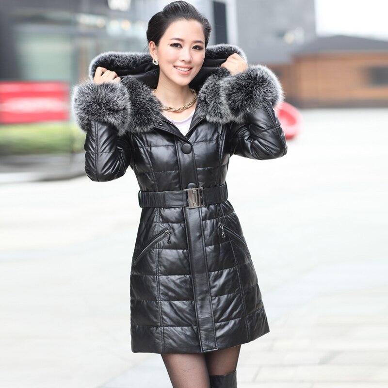 Sheepskin coat Leather jacket 2016 genuine sheepskin leather winter parka female large silver fox fur natural 4XL - New Phoenix store