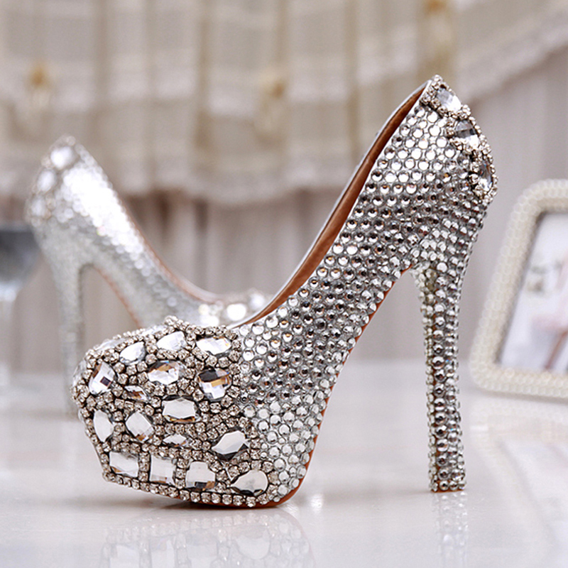 wedding silver shoes women high heel prom bridal wedding shoes platforms 1159