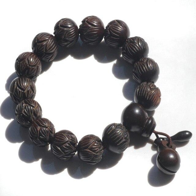 Ubeauty Fashion Wooden Bracelets Louts Carved Bracelet Tibetan Buddhist Prayer Bracelet women Men Stretch Bracelet