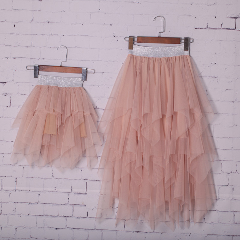 Mama Girls Tutu Lace Skirt Mommy And Me Matching Clothes Double Ruffles New Girls Half-dress Summer Parent Child Irregular Dress