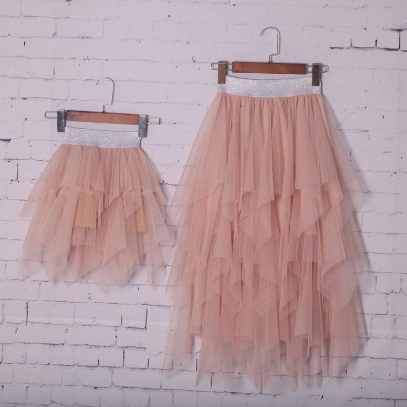 Jupe Tutu en dentelle pour maman et fille, vêtements assortis, demi-robe d'été, à Double volant, irrégulière pour Parent et enfant, nouvelle collection