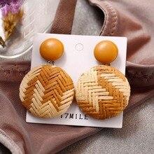цена на Women Retro Ethnic Style Temperament Weave Vintage Ethnic Round Circle Earrings