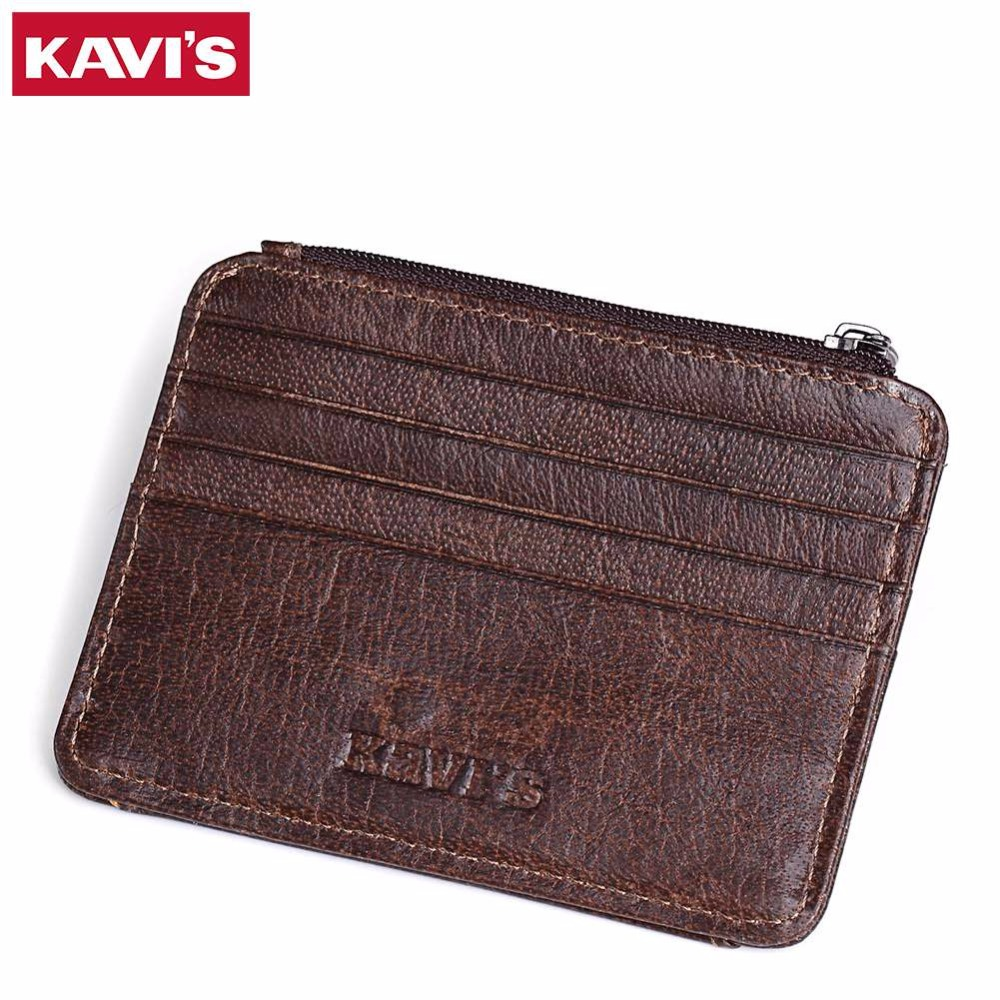 01073e27485 מחזיקי כרטיס וid - KAVIS Cow Leather Credit Card Wallet Multifunction  Credit ID Cards Holder Small Wallet Men Coin Purse Slim Cards Male Mini  Walet