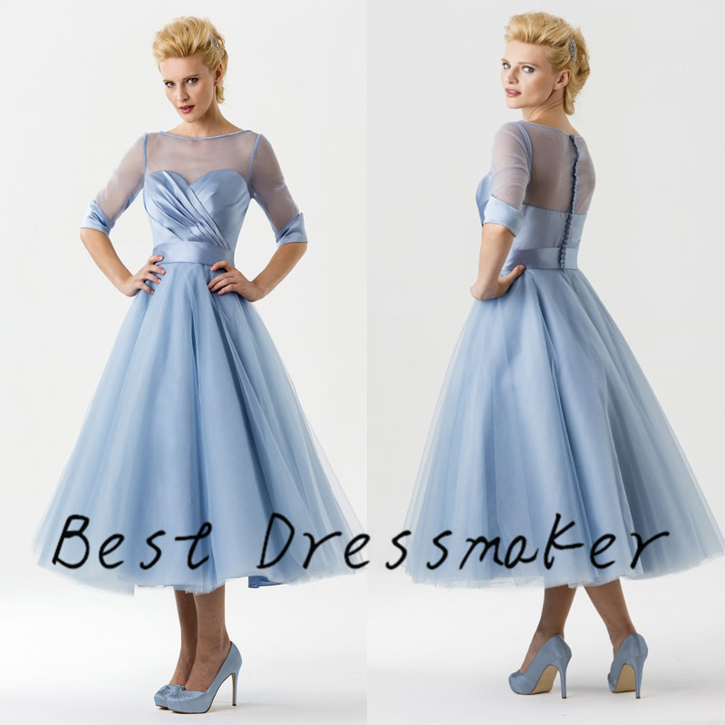 Latest trend vintage ice blue wedding dress 2016 mid calf for Current wedding dress trends