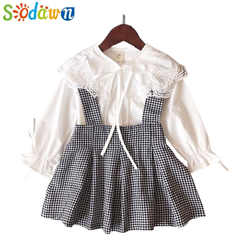 Sodawn 2018 Spring Autumn New Children Clothing Lace Wild Shirt +Plaid Strap Dress 2PCS Girls Clothing Set Fashion Girls suit