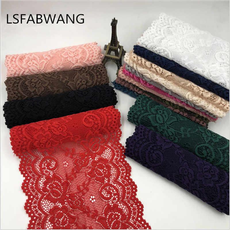 1 yarda 15cm ancho 22 colores tela de encaje elástico manualidades DIY suministros de costura accesorios de decoración para prendas encaje de adorno elástico