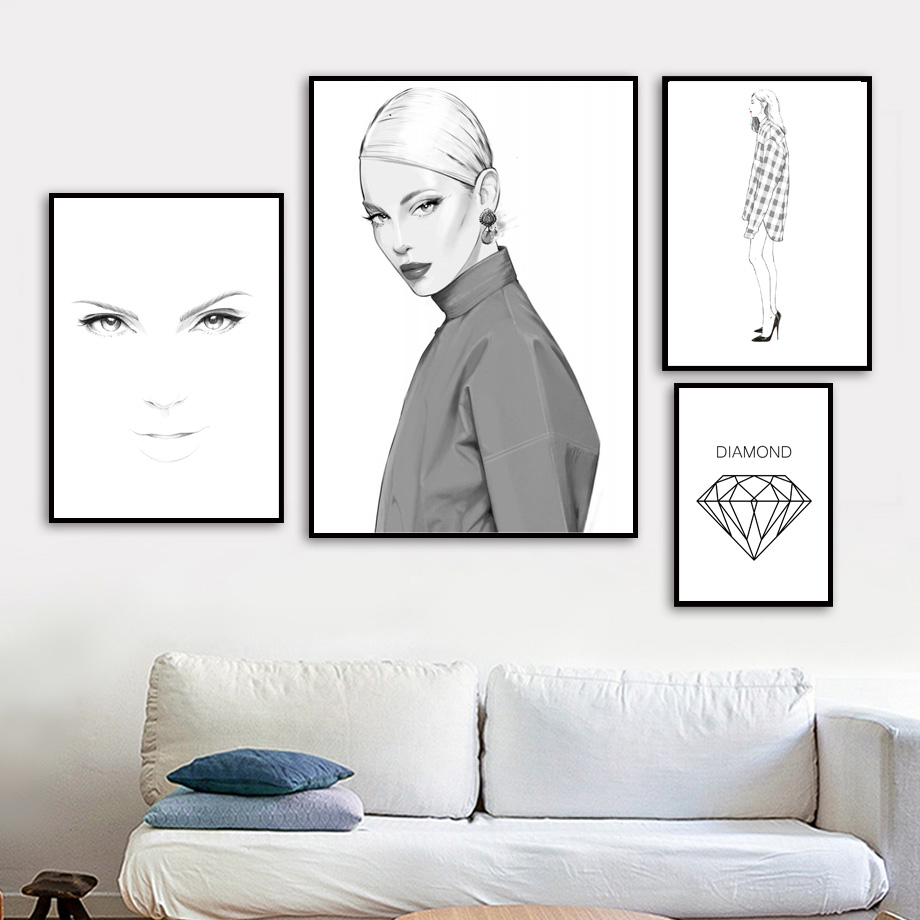 Fashion Woman Body Art Diamond Canvas Painting Nordic Posters And Prints Modern Wall Paintings Wall Pictures For Living Room in Painting Calligraphy from Home Garden