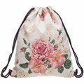 Women backpack Pink flower Printing Bags Portable Backpack girl Fashion Classic Brand Travel Romantic Drawstring Bag gift 2017