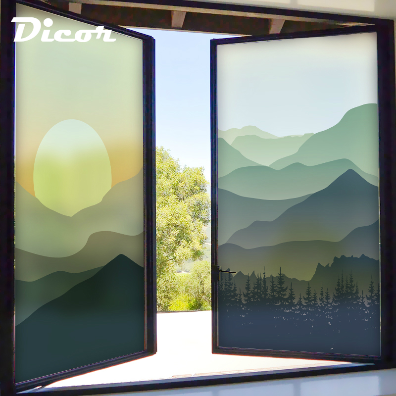 DICOR Brand Glass Film Stained Window Film No Glue Privacy Film Static Cling Frosted Privacy Glass Sticker Digital Print BLT1138 in Decorative Films from Home Garden