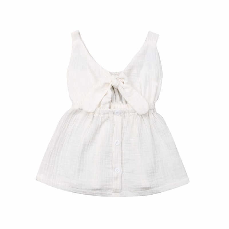 2019 lato solidna maluch dziewczynka bez rękawów modne sukienki stroje Casual Sundress