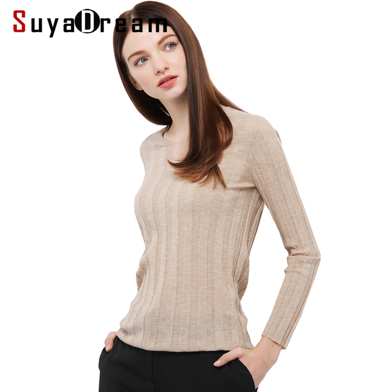 Women Wool Pullovers Solid V neck <font><b>sweater</b></font> 90%Merino Wool 10%Real Silk <font><b>RIB</b></font> knitted sueter top tunic jumper pull 2017 Fall Winter