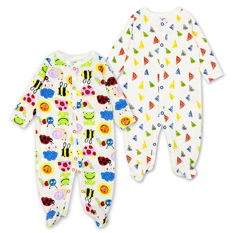 ملابس للرضع حديثي الولادة بيجامات للبنات بيجامات للقدمين من Roupa Bebe 2 حزمة طويلة الأكمام 3 6 9 12 شهرًا بدلة للأطفال الرضع