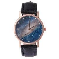 Fashion Gold Women S Quartz Wristwatches Starry Sky Rhinestone Leather Women S Bracelet Watch Dress Watch