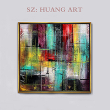 Fashion Colors Modern Abstract Hand-painted Cityscape Oil Painting on Canvas Rich City