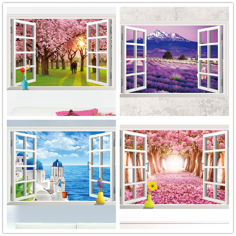 3D Scenery Sakura Tree Window View Wall Sticker Home Decals Wall Decor Mural Art DIY For Home decoration Kids Rooms Wallpaper