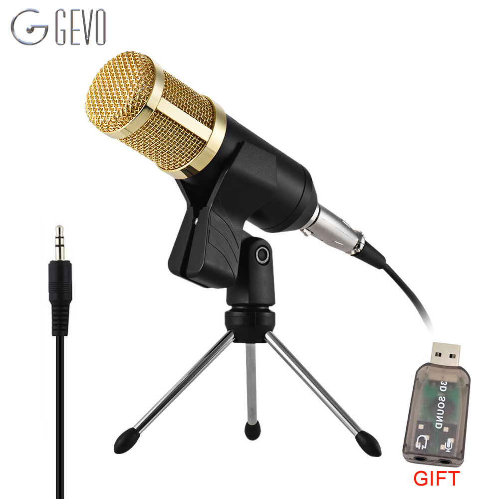 GEVO BM 800 Condenser Microphone For Computer professional Wired With Stand Tripod Studio Mic For Karaoke PC <font><b>Phantom</b></font> <font><b>Power</b></font> <font><b>BM800</b></font> image