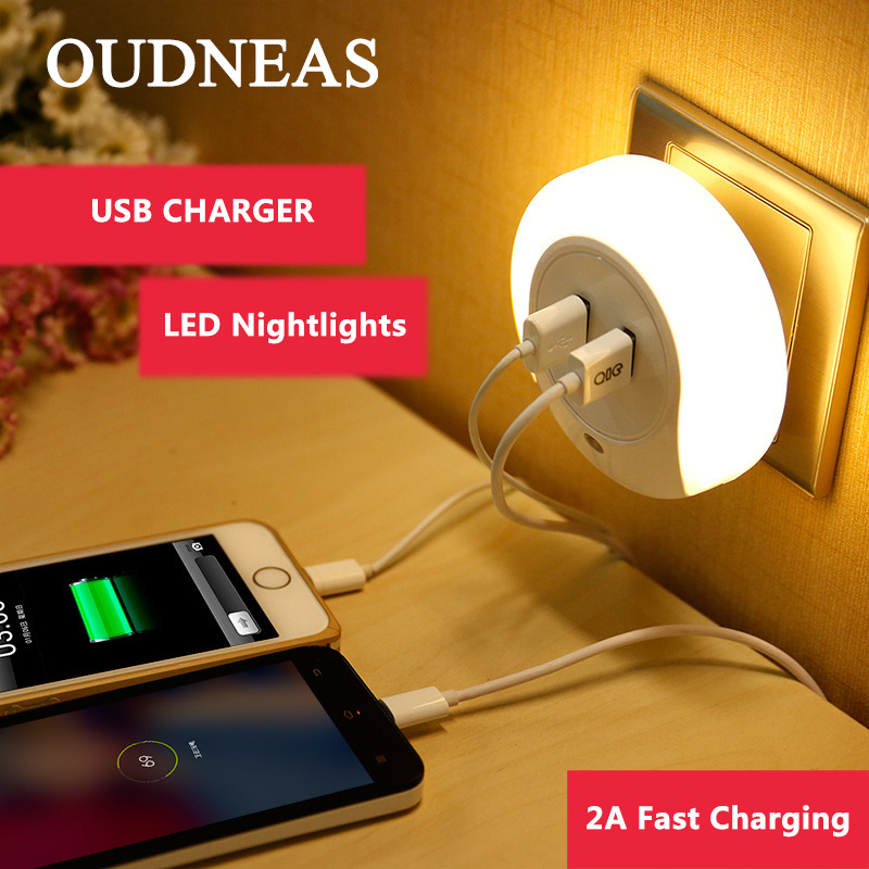 OUDNEAS 2 Port LED Lamp USB Charger for Samsung Galaxy S3 Adapter 5V 2A Travel Wall EU M ...