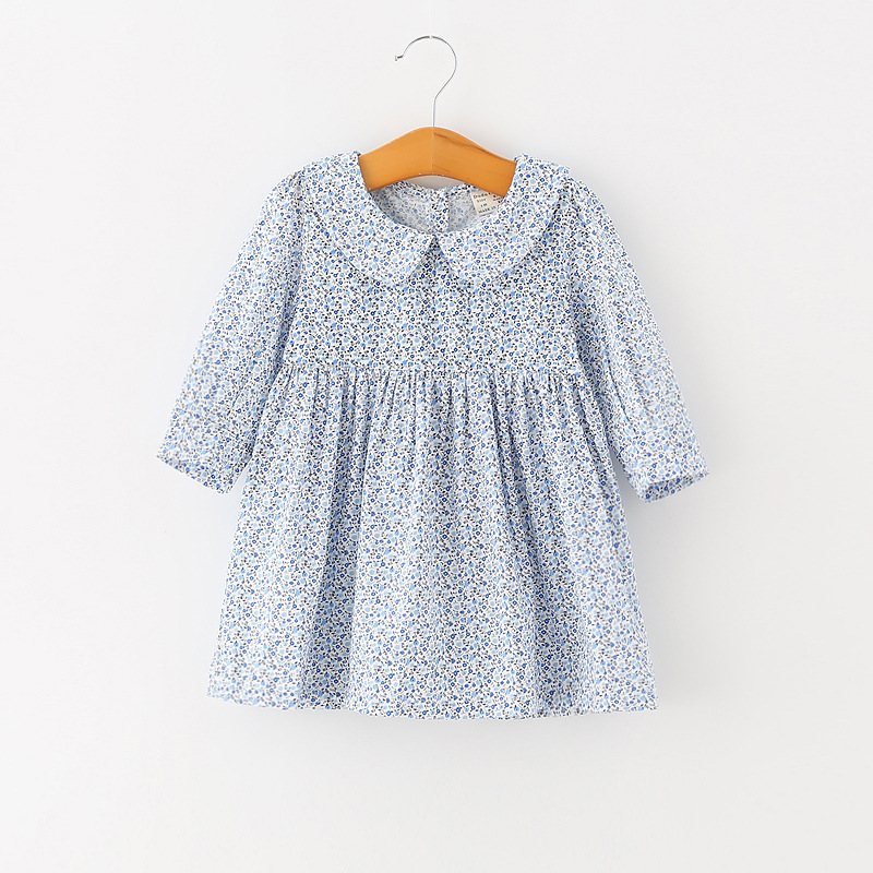 Flower Print Girls Dress Children Blue Peter Pan Collar Dresses 100% Cotton Baby Girl Jumpers Infant Kis 1-4 Years Girl Clothes girls floral summer dresses baby clothing girl dress print sundress children cotton clothes flower dresses sleeveless dress 4 14
