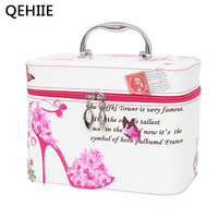 QEHIIE 2017 New PU Large Cute Pattern Portable Parge Capacity Cosmetic Bag Travel Portable Storage Beauty
