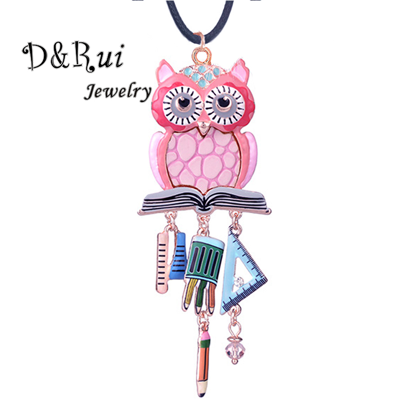 D&Rui Jewelry Sweet Girl Pendants Cute Pink Owl Necklace Funny Brush Ruler Pendant Girls Boys Long Sweater Rope Chain Necklaces