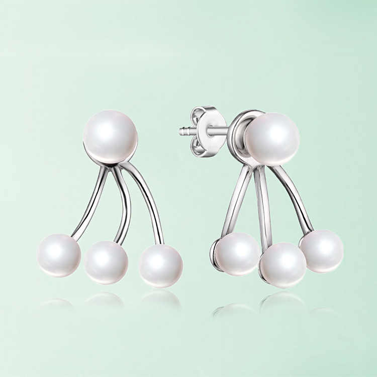 silver jewelry wholesale wholesale natural freshwater pearl ear studs, ladies' joking Earrings factory direct sales