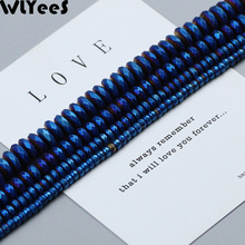 WLYeeS Plating Blue Matte faceted Flat Round beads 3 4 6 8 10mm Loose Spacer Beads for Jewelry Bracelet Making DIY Accessories