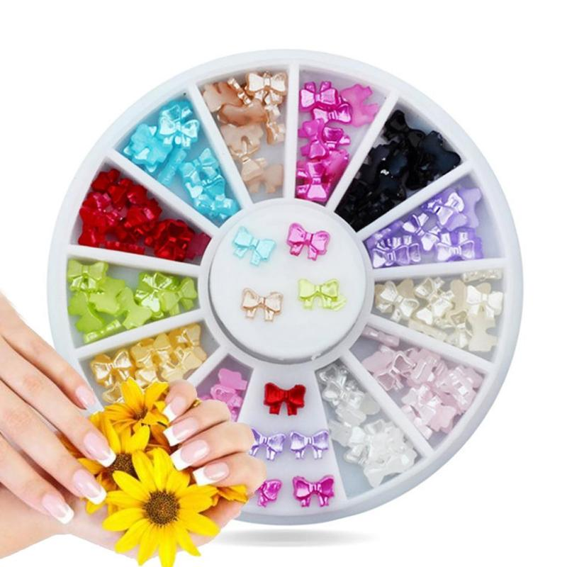 1 PC Bow tie Nail Decorations Colorful Butterfly 3D DIY Fingernail Art Ornament Candy Color Manicure Rhinestone Accessories Z3
