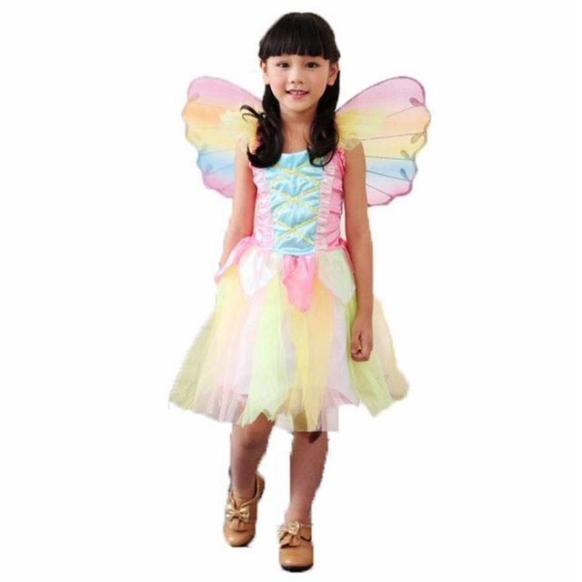 fairy elf rainbow dress princess costumes suit halloween costumes kids carnival costume for girls