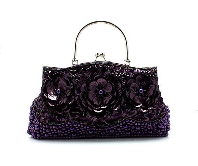 Purple Chinese Women's Beaded Sequined Wedding Evening Bag Clutch handbag Bride Party Purse Makeup Bag Free Shipping 1323-B