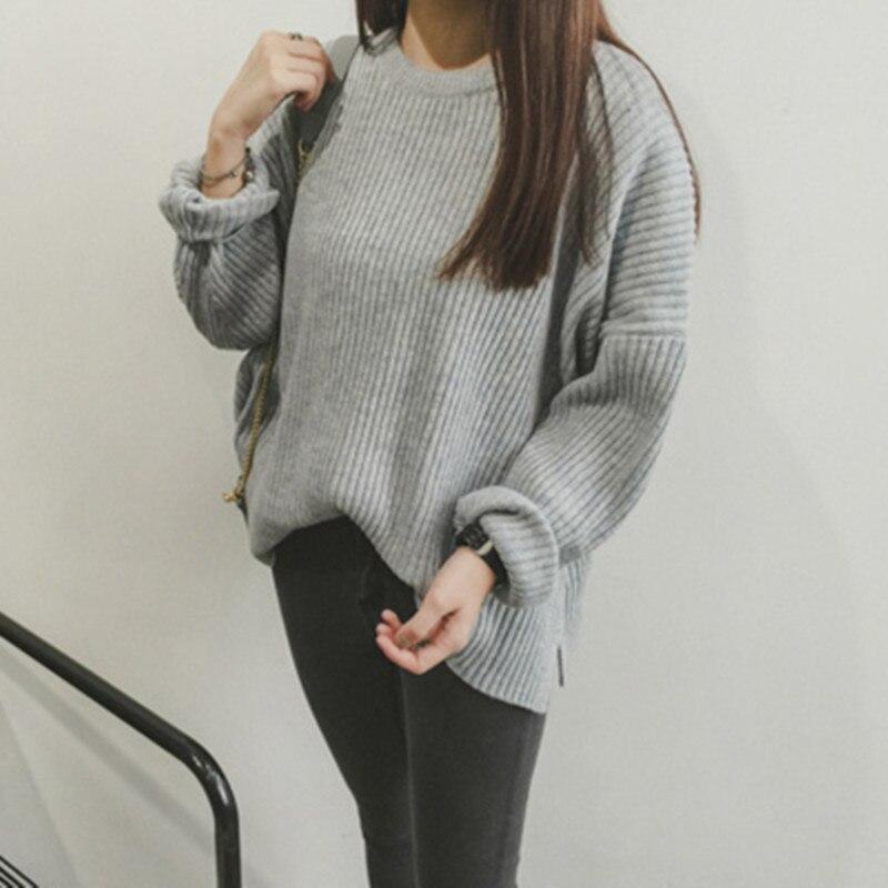 Suéteres y pulóveres de mujer de color sólido suelto de