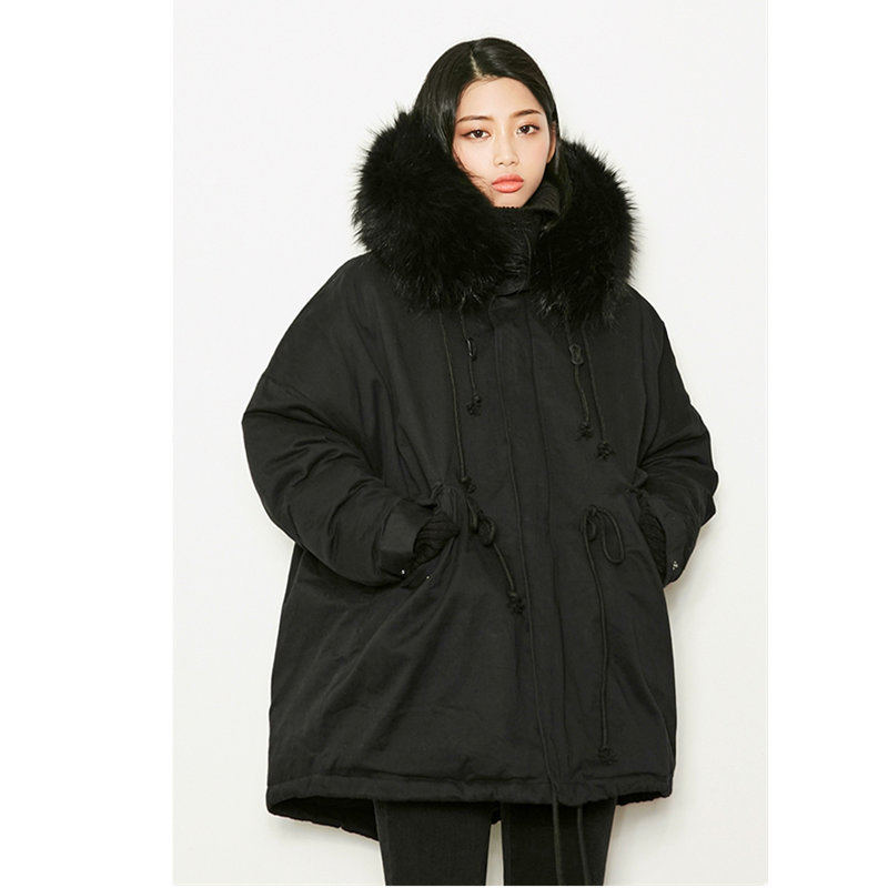 Warm Thicken Winter Jacket Women Coat Fur Collar Hooded Chaqueta Mujer Oversized Coat Outerwear Winter   Parka   Women Jacket Q915