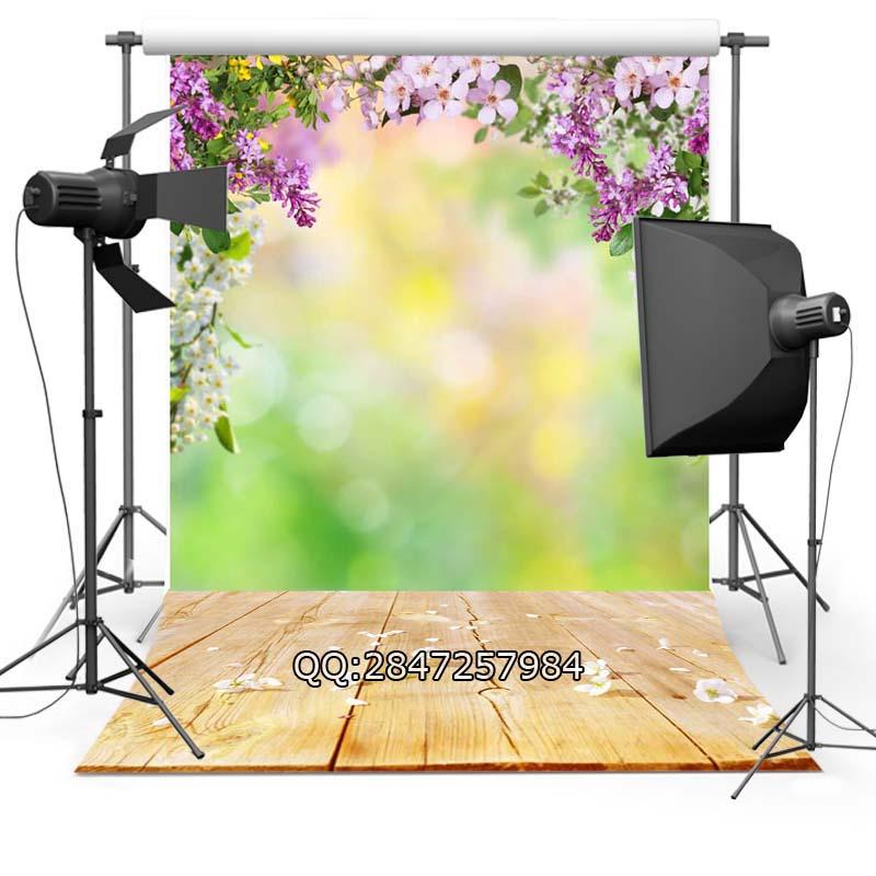 Prix pour Mince vinyle fond la photographie personnaliser printemps fleurs décors numérique impression de fond pour photo Studio F-2343